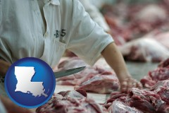 louisiana a meat processing worker
